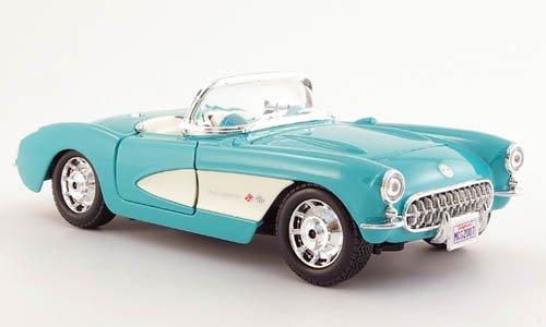 chevrolet-corvette-turquoise-blanche-1957-voiture-miniature-miniature-deja-montee-maisto-124