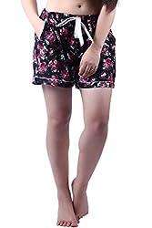 Vixenwrap Black Floral Print Shorts(XL_Black)