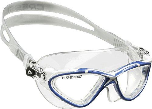 Cressi Saturn Crystal Occhialini da Nuoto, Trasparente/Blu/Bianco