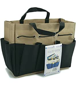 Allary Imports Project Tote 9-1/2-Inch by 8-1/2-Inch by 5-Inch, Black/Khaki