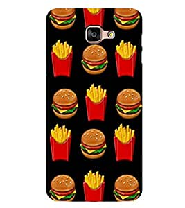 Burger and Fries 2D Hard Polycarbonate Designer Back Case Cover for Samsung Galaxy A8 :: Samsung Galaxy A9 (2016) Duos with dual-SIM card slot