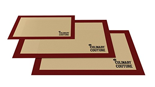 Silicone Baking Mat Set (3) Non-Stick Cookie Sheets - 2 Half Sheets and 1 Quarter Sheet - For Bread Making Pastry Macarons Biscuit Buns - 16-5/8 x 11 Inch - Bonus Ebook! (Edges Only Brownie Pan compare prices)