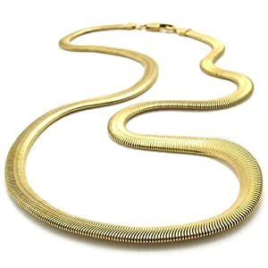 KONOV Jewelry Stainless Steel Men's Necklace Snake Chain - Gold 6mm 21.5