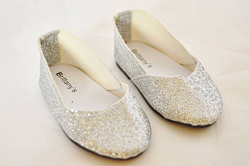 SILVER SPARKLE SHOES FOR AMERICAN GIRL DOLLS
