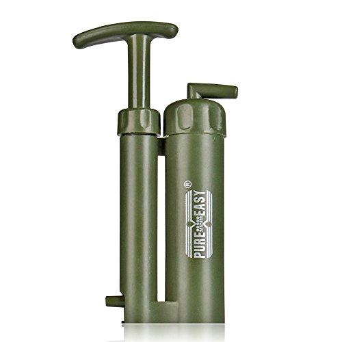 Flexzion Water Filter Purifier Absolute Filtration Purification System Kit Portable for Outdoor Emergency Survival Travelling Hiking Camping Fishing in Army Green