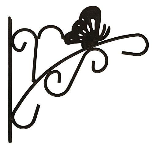 "Amagabeli Butterfly Design Cast Iron Plant Hook, 11"" x 11"" x 0.6"", Black"