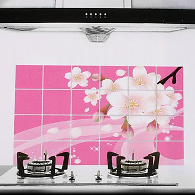 Zaki-90x60cm Plum Blossom Pattern Oil-Proof Water-Proof Kitchen Wall Sticker