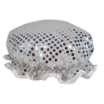 Silver Sparkling Sequin Shower Cap