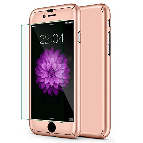 iphone 6 Plus Case,sxxissky Ultra-thin Full Body Coverage Hard Hybrid Plastic with [Tempered Glass Screen Protector]Protective Case Cover & Skin for Apple iPhone 6 Plus/iphone 6S Plus 5.5''(Rose Gold) (Protective Skins Iphone 6 Plus compare prices)