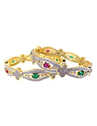 Aabhushan Jewels Ruby & Emerald Look Gold Plated American Diamond Bangles For Women - B00WUE8ENY
