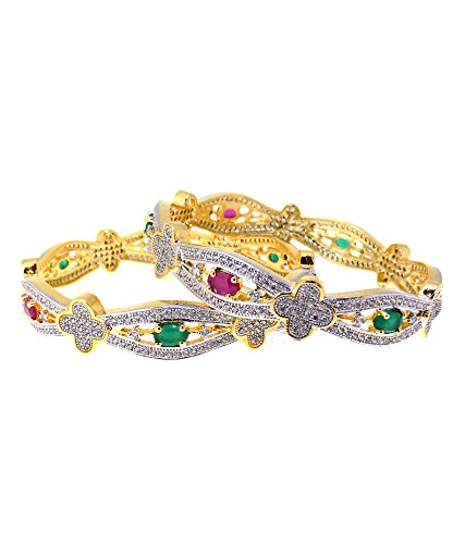 Aabhushan Jewels Ruby & Emerald Look Gold Plated American Diamond Bangles For Women - B00WUE8D76