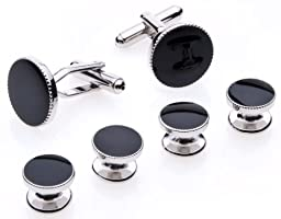 Cufflinks and Studs Set for Tuxedo - Formal Black with Shiny Silver Trimming by Men\'s Collections