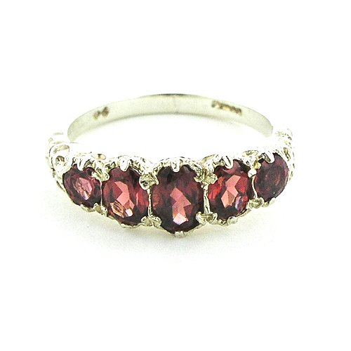 Sterling Silver Ladies Almandine Garnet Ring - Size L - Finger Sizes L to Z Available