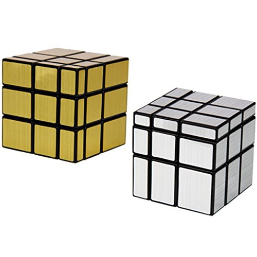 Yeelan Pack 2 Mirror Cube Puzzle 3x3, or + argent