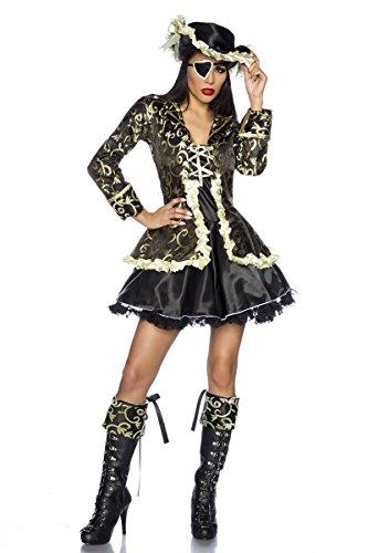Hochwertiges Kostüm `Piraten-Braut` für Karneval und Fasching mit Hut A11286, Größe:34;Farbe:schwarz