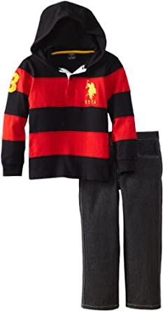 U.S. Polo Assn. Boys 2-7 Striped Hoodie with Five Pocket Denim Pant, Black, 3T