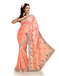 Designersareez Women Faux Shimmer Georgette Embroidered Peach Saree With Unstitched Blouse(1161)
