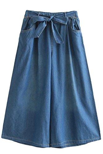 (アッシュランゲル)ASHERANGELレディース ガウチョパンツ ガウチョ デニム スカート風 ワイドパンツ ダークブルー