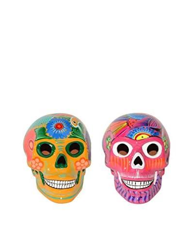 Uptown Down Set of 2 Hand-Painted Ceramic Sugar Skulls, Yellow/Pink