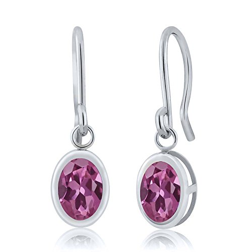1.70 Ct Oval Pink Tourmaline 925 Sterling Silver Frenc Wire Dangling Earrings
