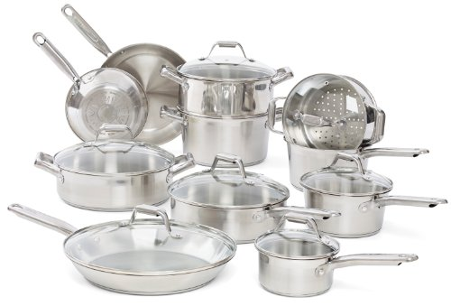 T-fal C771SI63 Elegance Stainless Steel Dishwasher safe 18-Piece Cookware Set, Silver