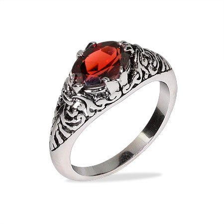Sterling Silver Oval Shape Garnet CZ Bali Ring Size 6 (Sizes 5 6 7 8 9 10 Available)