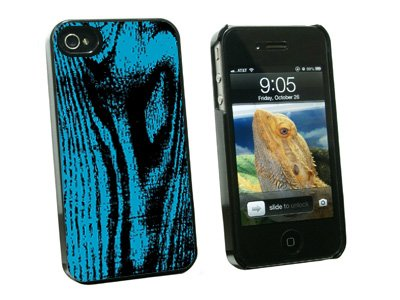 Wood Grain Blue - Snap On Hard Protective Case for Apple iPhone 4 4S - Black
