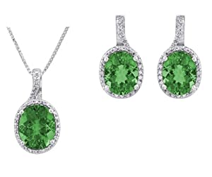 Sterling Silver Simulated Emerald Pendant Necklace and Earrings Set