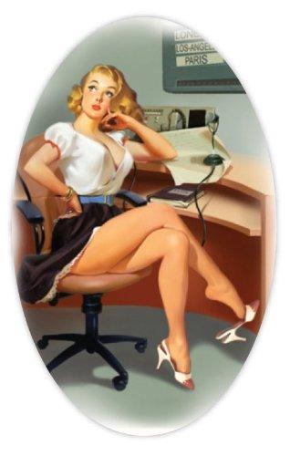 "Pin Up Pinup Pin-Up Sexy Retro Girl Secretary Sticker Decal 3"" X 5"""