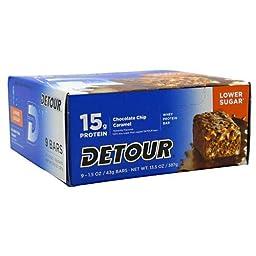 Forward Foods Detour Low Sugar Whey Protein Bar Chocolate Chip Caramel 9-1.5oz (43g) Bars