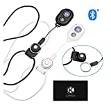 2X CamKix Camera Shutter Remote Control with Bluetooth Wireless Technology - Black+White - Lanyard with Detachable Ring Mount - Pictures/Video Wirelessly at 30 ft Compatible with iPhone/Android (Color: Black & White - 2 pack)