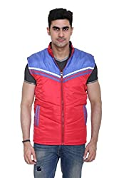 Sleeveless Quilted Jacket for Men by COLORS & BLENDS - Red - XL size