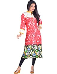 Aastha Creation Women's Blended Cotton Straight Kurta (Red, XL)