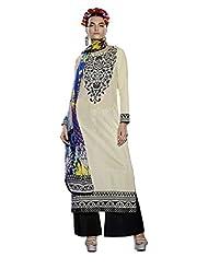 Pankaj Nidhi Designer Pakistani Style White & Black Color Un-stitched Long Cotton Suit