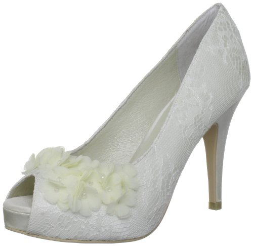 Menbur Wedding Rea 5351, Scarpe da sposa col tacco , Avorio (Elfenbein (Ivory 04)), 36