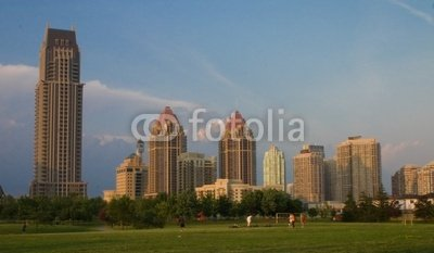 """Wallmonkeys Peel and Stick Wall Decals - Skyline of Mississauga, Ontario, Canada - 24""""W x 14""""H Removable Graphic"""