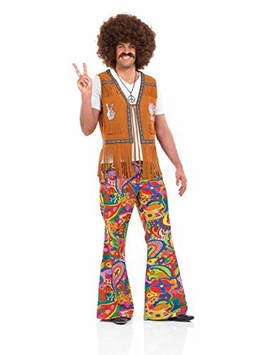 Mens 60s Psychedelic Flares Costume For 70s Fancy Dress Adults