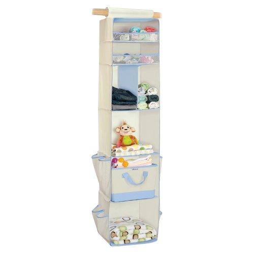 Munchkin 6 Shelf Closet Organizer White Blue Baby
