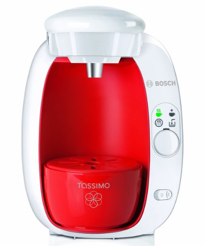 Bosch Tassimo T20 Beverage System and Coffee Brewer White with Pack of T Discs, Strawberry Red