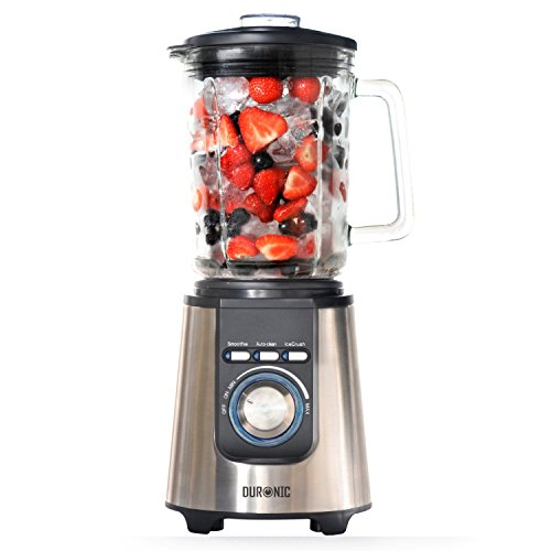 Duronic BL1200 - Stainless Steel Body Table Blender - 1.8L Glass Jug. Pre Programmed for: Smoothies, Ice Crusher and Auto Clean - Powerful 1200W Motor by Duronic