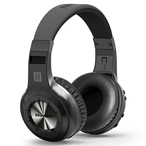 Bluedio H-Turbine Bluetooth Stereo Headphone Wireless Headphones Bulit-In Microphone Bt4.1 Headset Powerful Bass Enjoy Your Music Over-Ear Headphones -Retail Package Global Release (Black)