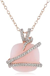 Sterling Silver Pink Opal and Diamond Fashion Pendant Necklace, (.16 Cttw, G-H Color, I3 Clarity), 18""