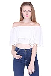 White Off Shoulder Crop Top With Pom Pom ZSTRDRESS411-XS