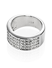 M&S Collection Platinum Plated Crystal Diamanté Ring