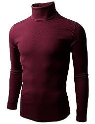 Doublju Mens Long Sleeve Cotten Turtleneck Pullover Shirt, Wine, S