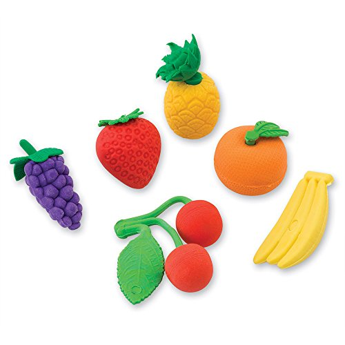 3-D Fruit Shaped Erasers - 12 Per Pack