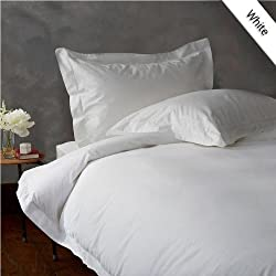 400 Thread Count 100% Egyptian Cotton 1PC QUEEN Duvet Cover with Zipper Closure, Solid White