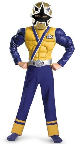 Saban`S Power Rangers Samurai Gold Ranger Classic Muscle Costume, Blue/Gold/Silver, 4 - 6 (child boy)