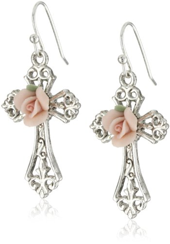 The Vatican Library Collection Rose Cross Earrings