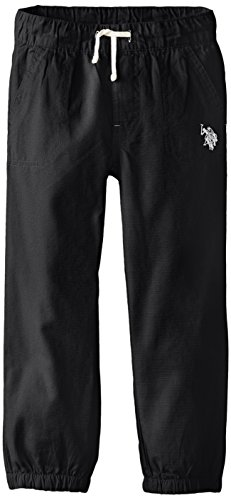 U.S. Polo Assn. Little Boys' Ripstop Pull On Pant, Black, 5